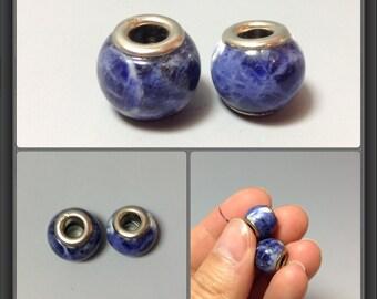 Sodalite bead/ Large hole