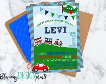 Train, Planes and Automobiles Birthday Invitation