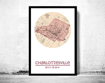 CHARLOTTESVILLE VA - city poster - city map poster print