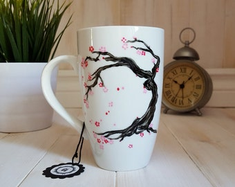 Hand painted mug: Cherry blossom japanese tree