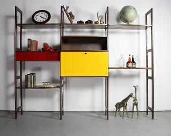 vintage mid century modern wall unit | etsy