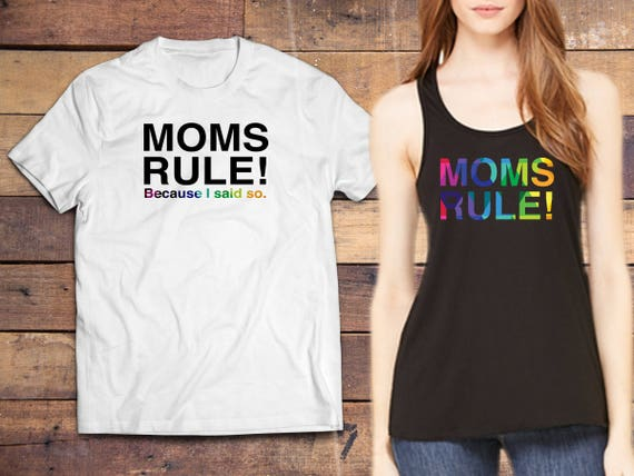 Two personalized unique colorful Moms Rule t-shirts  (Tee colors: Heather White, Black, Pink, Yellow) on Amazon