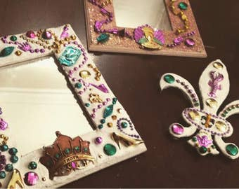 Mardi Gras Bead Picture Frames, Mirrors, and Wall Decor