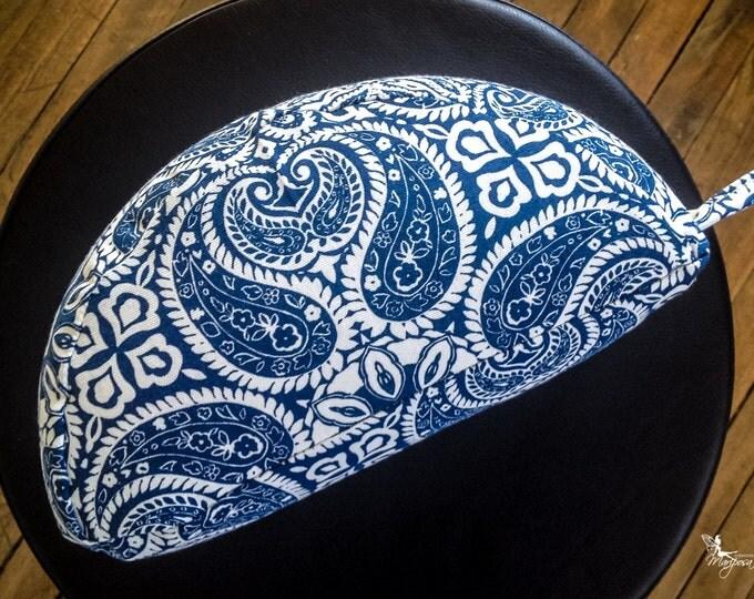 Meditation crescent portable travel cushion Blue Mandala organic buckwheat hulls yoga pillow handmade by Creations Mariposa C-MB