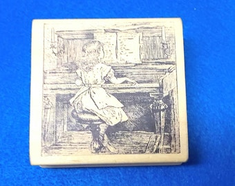 Girl playing piano rubber stamp wood mounted Magenta children child pianos music old fashioned style art junk journal supply mixed media