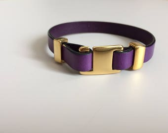 Purple Flat Leather with Gold Buckle Clasp - Purple Leather Bracelet - Buckle Clasp Leather Bracelet