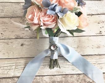 Peach and blue wedding bouquet, silk flowers, sky blue and peach, summer 2017 wedding