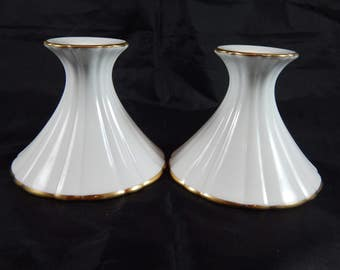 Christian Dior White Porcelain Candle Holders with 24K Gold Trim Candlestick Holder