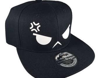 Angry Anime Chibi Stress Face Snapback Trucker Cap Hat