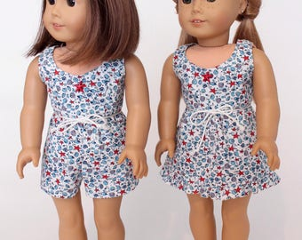 18 inch girl doll clothes: Summer Fun-- Sleeveless dress or romper with a seaside print