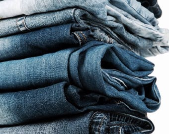 Bulk Lot of Assorted Denim Jeans damaged but great for DIY Recycling, Upcycling, Sewing, Crafts, Repair, Cut off Shorts - Cotton Fabric