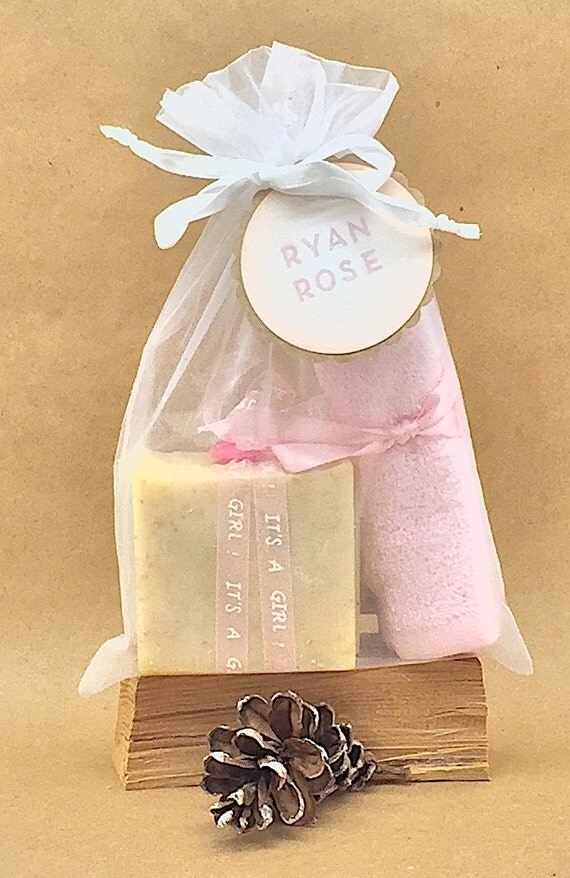 PERSONALIZED: BABY GIRL Chamomile & Oatmeal Soap w/ Pink Bamboo Washcloth | Ribbon Wrapped, Button Topped Soap in White Organza Bag