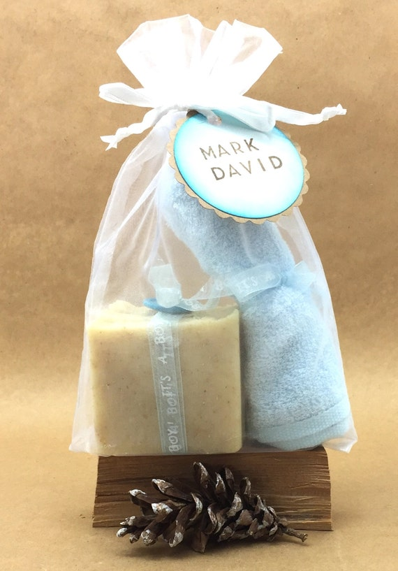 PERSONALIZED: BABY BOY Chamomile & Oatmeal Soap w/ Blue Bamboo Washcloth | Ribbon Wrapped, Button Topped Soap in White Organza Bag