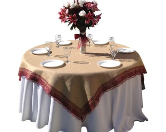 72 X 72 Inches   Burlap BURGUNDY RED/WINE Lace Edged Table Overlay /