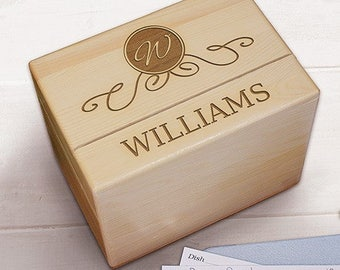 Engraved Recipe Box, Wood Recipe Box, Personalized