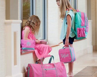 Monogrammed Girls Duffel Bag, Backpack, Lunch Bag