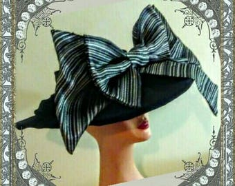 DERBY COLLECTION: LEXINGTON Experience Hat - Black Velvet - Shades of Gray Pinstripe Double Bow