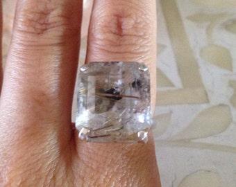 Goddess ring rutilated quartz crystal facet stone set in sterling silver adjustable