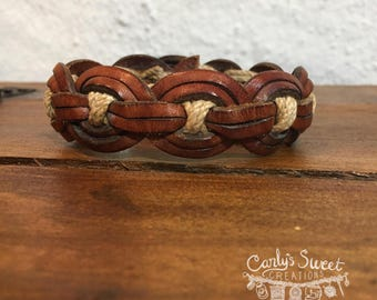 Repurposed Light Brown Leather & Jute Twine Woven Belt Cuff