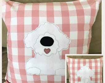 Bichon Frise - pink and white check reversible Cushion with a tail