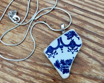 Welsh seapottery pendants. Pottery pendants. Beach finds. Necklace. Silver plated. 5 available