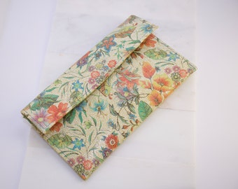 Floral Clutch made with Italian Leather