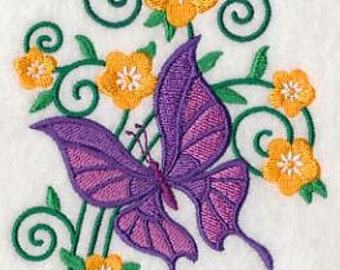 PAIR hand towels - burst of spring butterfly 3 -  15 x 25 inch for kitchen / bathroom MORE COLORS