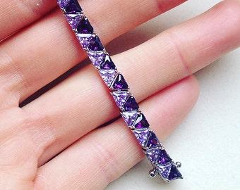 Amethyst Sterling Silver Bracelet With Cubic Zirconia, Bridal Jewelry, Wedding Bracelet