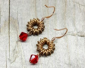 Simple dangle earrings, swarovski crystal beads, french ear wire, handmade earrings, chainmail jump ring, burst earrings, handmade jewelry
