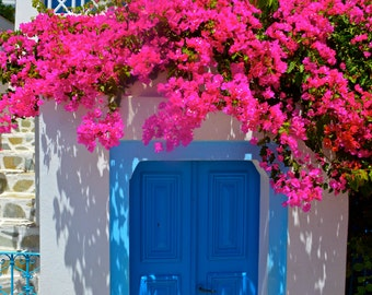 Santorini Photography, Greece Photography, Blue Door, Pink Bougainvillea, Fine Art Photography, Large Wall Art, Travel Photography
