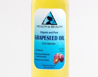 12 oz GRAPESEED OIL ORGANIC Carrier Cold Pressed 100% Pure