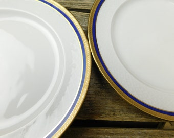 Set of 4 Vintage Seltmann Weiden Bavaria - West Germany - Polonaise Blue Salad Dessert Plates