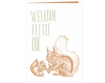cute squirrel Babyshower card - new baby - single parent - Welcome little one - squirrels - baby and mother - beautiful nature baby card eco