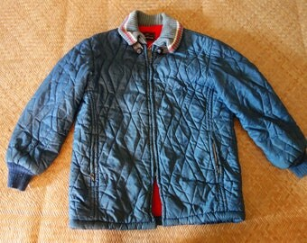XS 50s quilted jacket coat 1950s puffer winter warm lined insulated medium blue royal fleece nylon extra small slim fit fitted workwear old