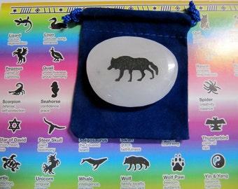Gemstones, Animals,Wolf, Totem Spirit Healing, Stones with Animals and Symbols, Medicine Bag, Spirit Totem, Reiki, Chakra,Feng Shui