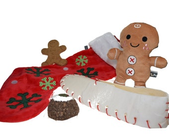 Puppy Dog Christmas Stocking Set - Edible Treats & Squeaky Toy