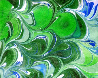 Marbled green, blue, and white silk scarf