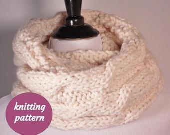 PDF KNITTING PATTERN, Reversible Cable Knit Infinity Scarf Pattern, Cable Knit Cowl Pattern, Cable Circle Scarf Pattern