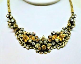 Topaz Rhinestone Necklace - Vintage, Gold Tone, Imitation Pearl