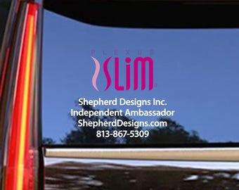 """17""""x11"""" FREE COLOR UPGRADE - Plexus Slim Small Window Personalized Full Color Decal Up To 11"""" Tall (Glossy) 202763412015AO"""