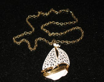 Monet Large White Sailboat Pendant and Necklace 24 inch