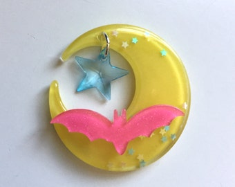 Moon and Bat with Star Charm Hair Clip (pink, blue and yellow)