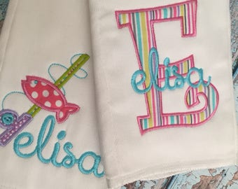 Baby Girl Gone Fishing Personalized Burp Cloth Set