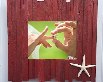 Handmade 8x10 frame -reclaimed wood -red
