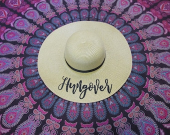 Hungover Beach Hat, Floppy Hat, Straw Hat, Ladies Sun Hat, Bachelorette Party, Girls Weekend Away