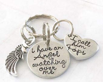 Memorial keychain - loss of loved one - Hand stamped keychain - Loss keychain - I hold you in my heart - Angel watching over me