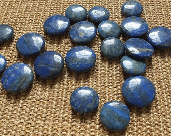 Blue agate round coin shape.