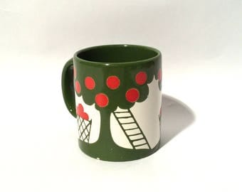Vintage 1980s Waechtersbach West Germany Green Apple Tree MCM Mug, Collectible and Rare