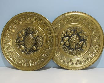 English Brass Wall Plate with Embossed Fruit ~ Set of 2 ~Made in England~ Brass Wall Hangings~ 12 inch ~ Brass Wall Art