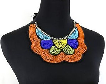 Orange Handmade Beaded Boho Necklace